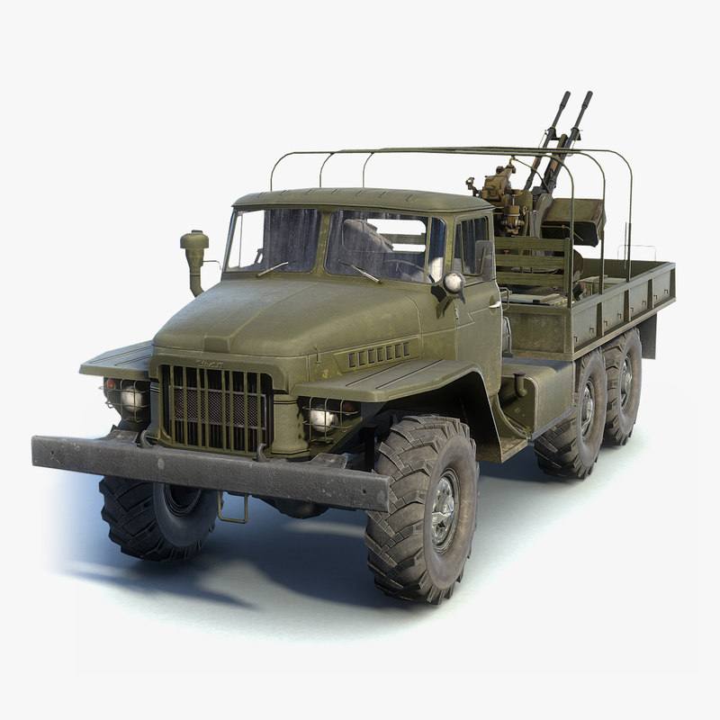 3D low-poly army truck ural-375