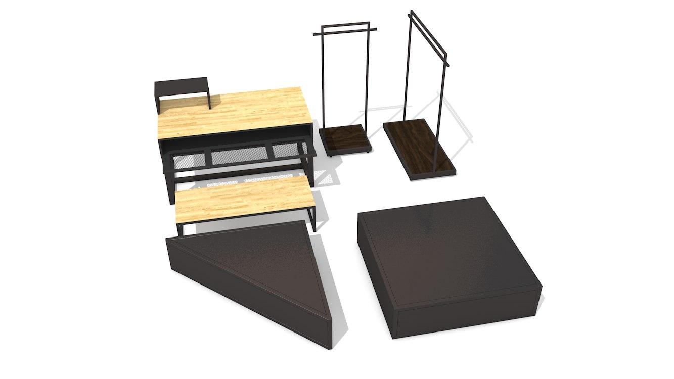 3D pack retail fixture model