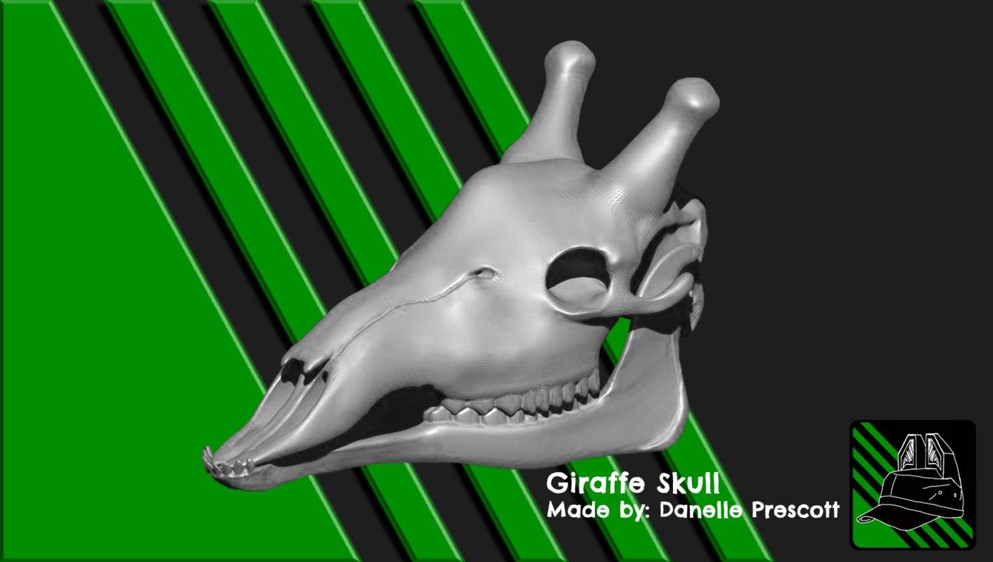 giraffe skull print 3D model