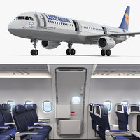 airbus a321 lufthansa interior 3D model