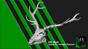 3D model elk skull print