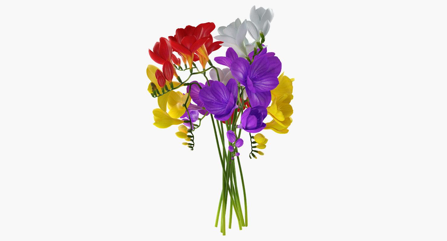 freesia bouquet 3D model
