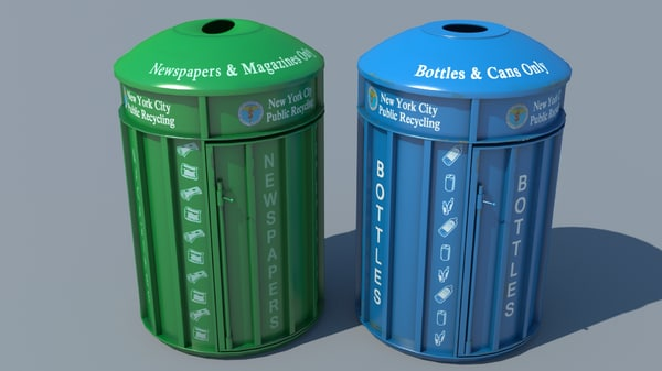 recycling bins public 3D model