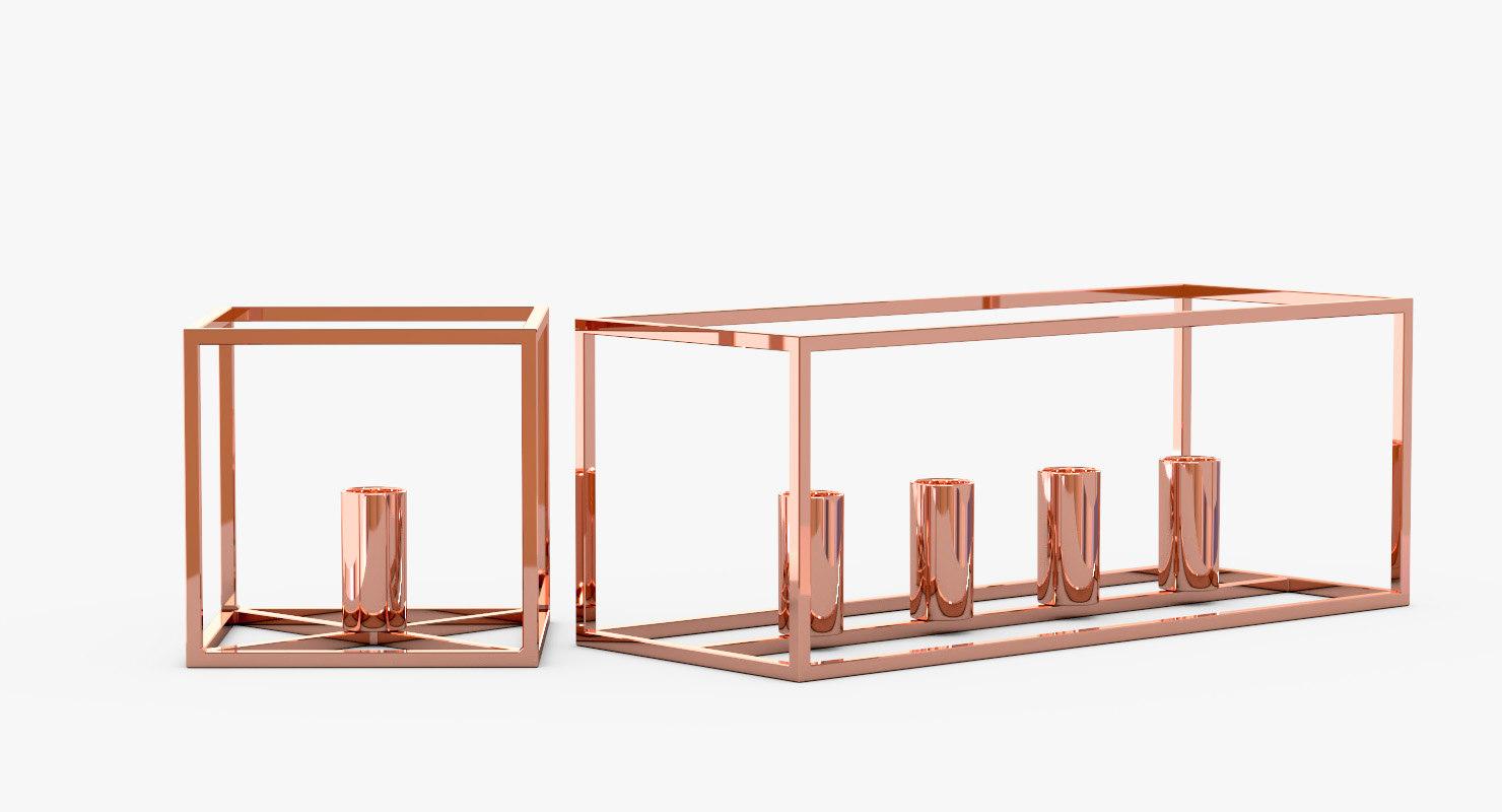 modern copper candle holder 3D model