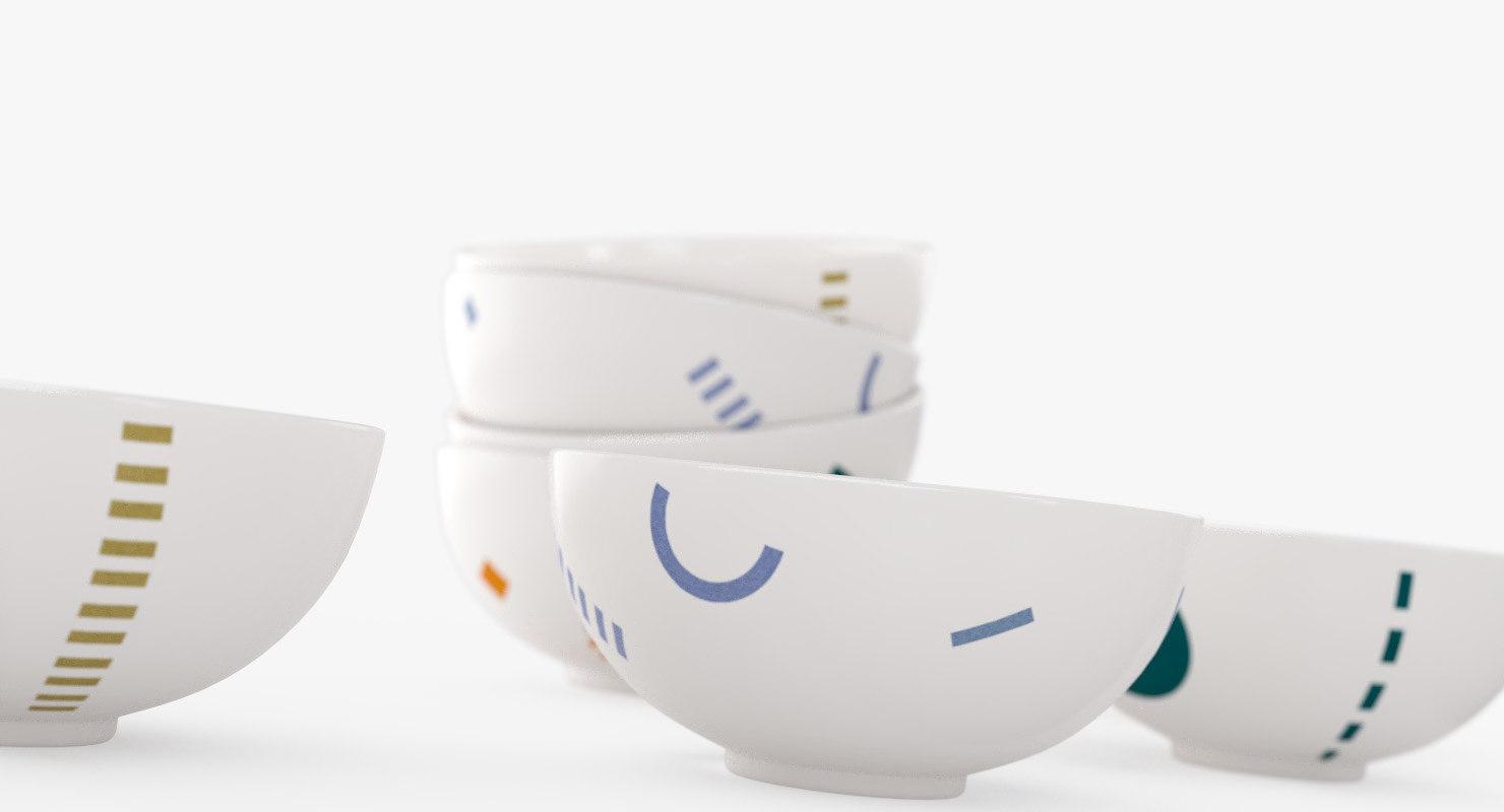 3D white ring bowls