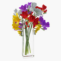 Freesia Flowers Bouquet in Vase 3D Model