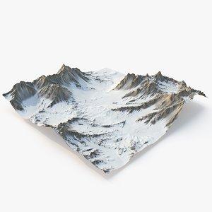 3D snowy valley snow terrain