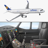 3D airbus a321 lufthansa interior model