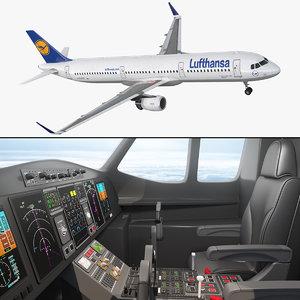 3D airbus a321 lufthansa interior model