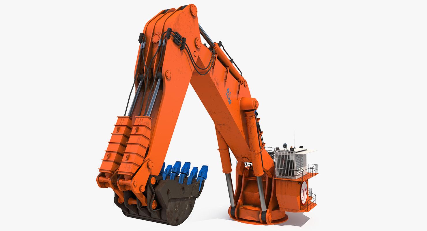 3D backhoe dredger backacter 1100 model