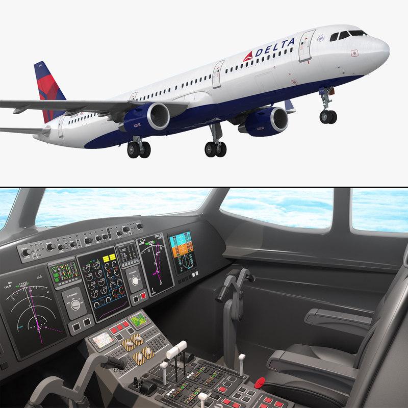 airbus a321 delta airlines 3D model