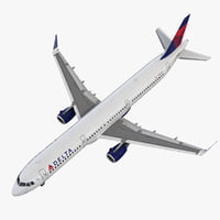 Airbus A321 Delta Airlines with Interior 3D Model