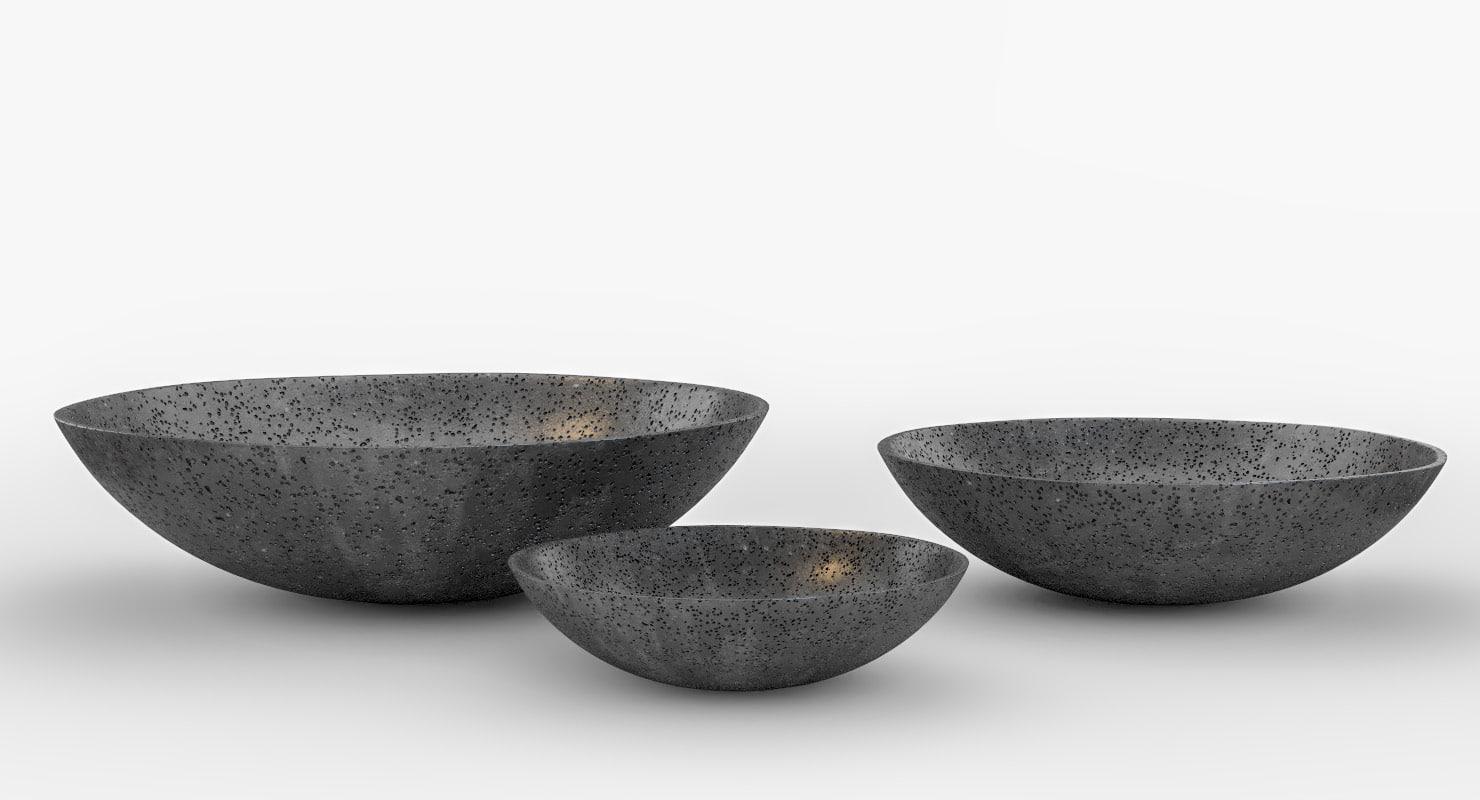 3D concrete bowls model