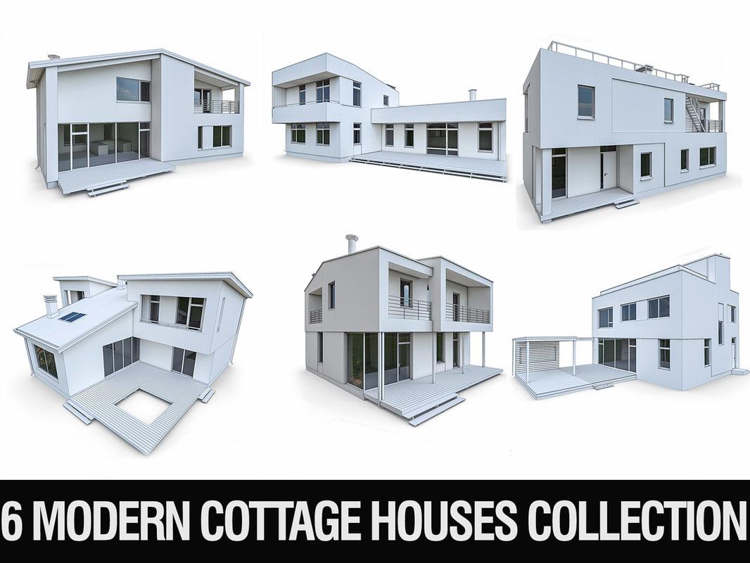 3D model 6 cottage houses -
