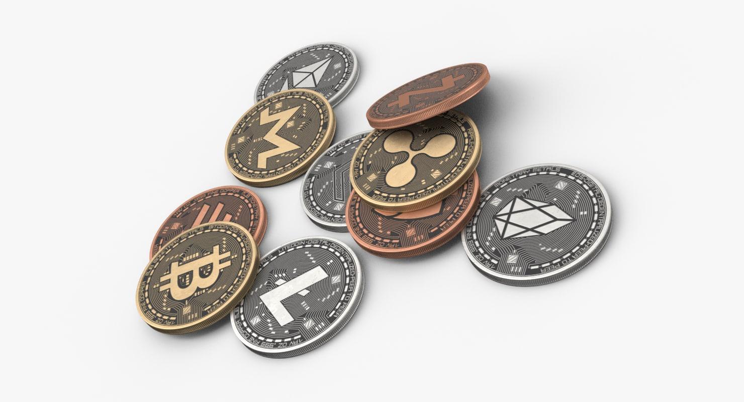 3D coins bitcoin eos