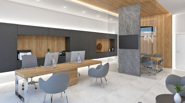 3D small office interior