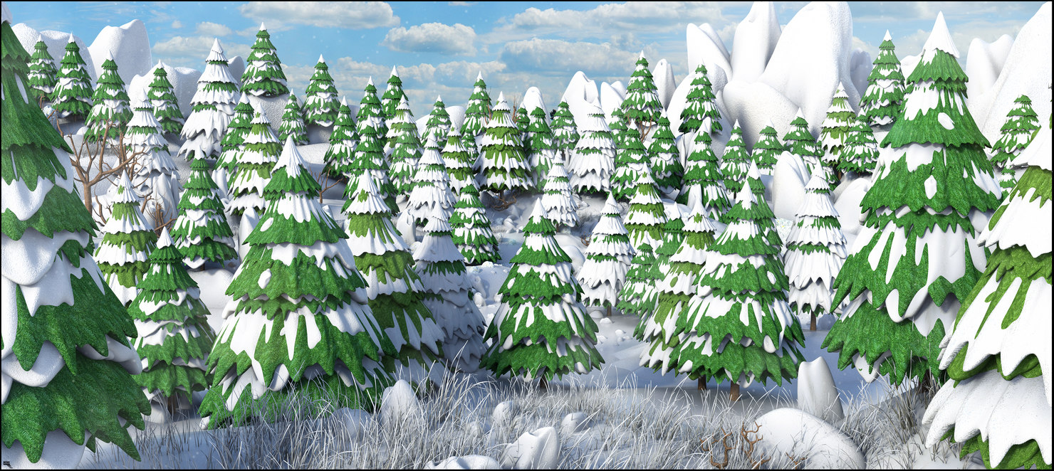 3D model snow cartoon mountain