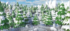 3D model snow cartoon mountain