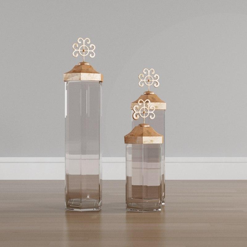 decorative jars copper clear 3D model