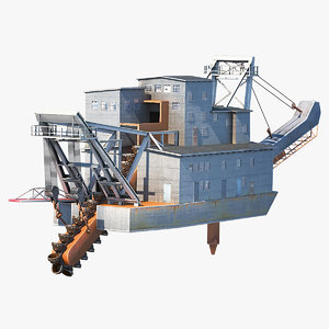 3D gold dredge model