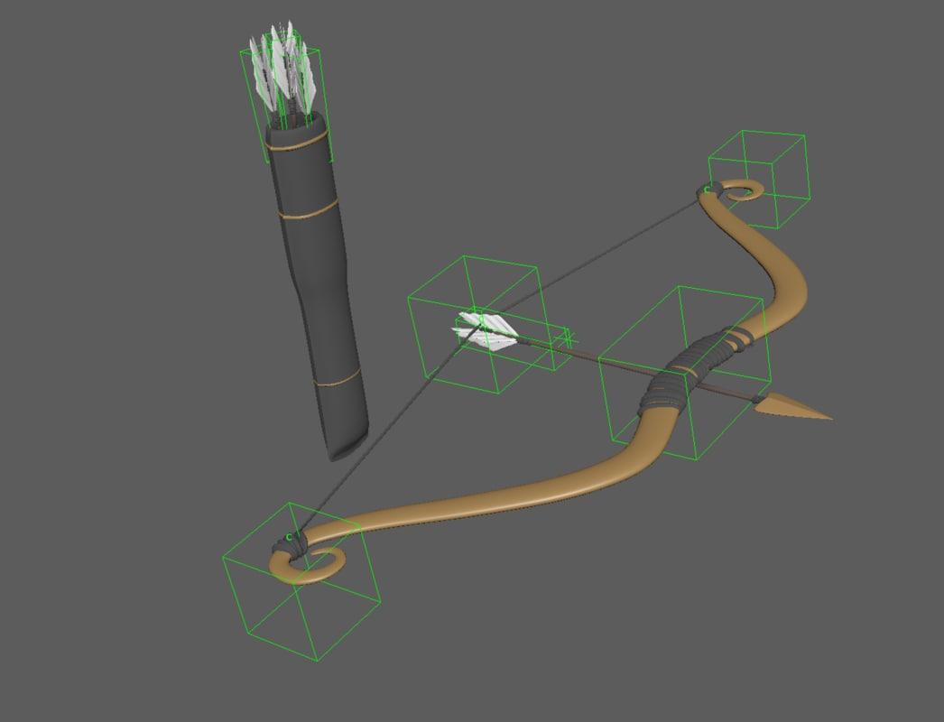 bow arrow cupid 3D model