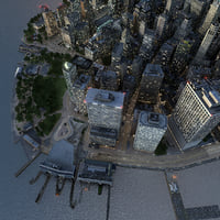 3D manhattan lower tip night model
