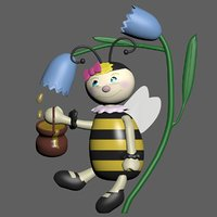 bee honeybee honey 3D