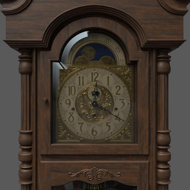 pbr grandfather clock 3D model