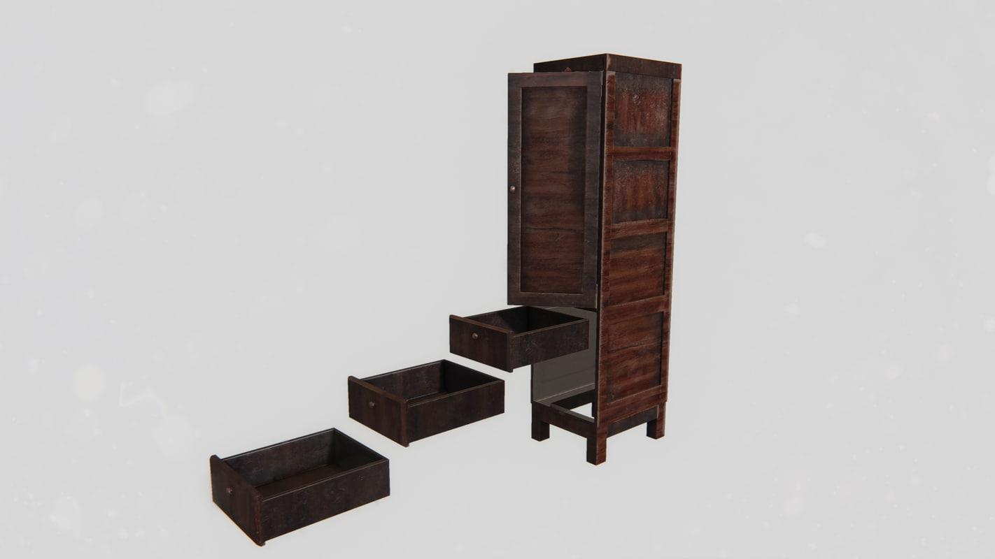 low model cgtrader wardrobe obj poly office cabinet fbx stl models mtl blend furniture