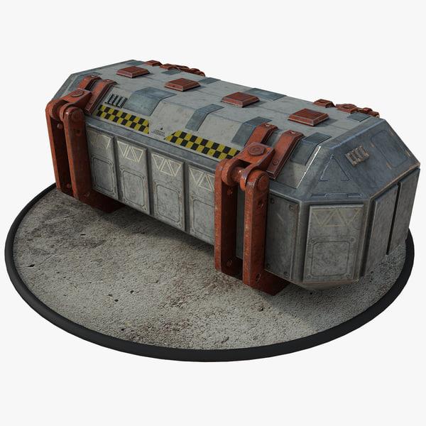 futuristic sci-fi crate 3D model