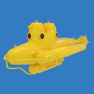 3D model submarine ocean