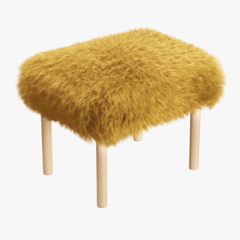3D wool carys sheepskin footstool