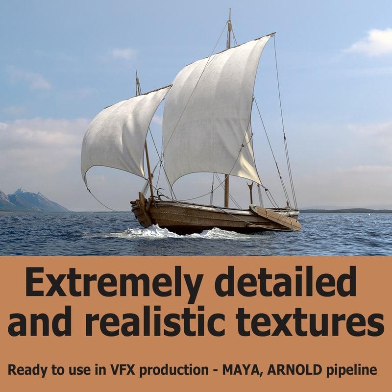 sailing vessel sea 3D model