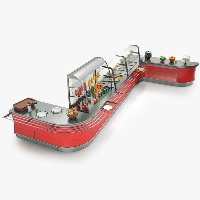 3D kitchen equipment serving lines model