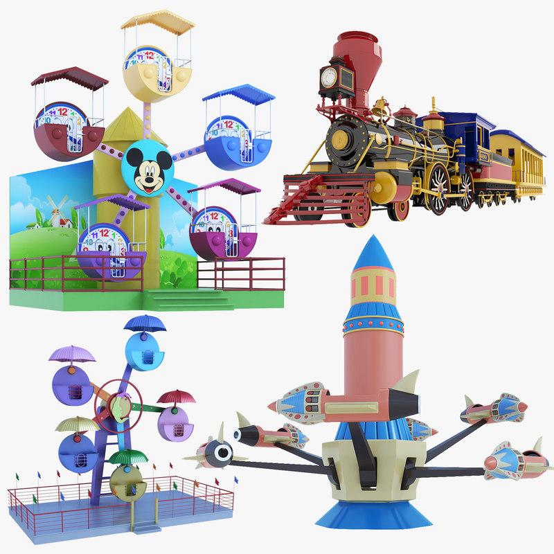 3D ferris wheel amusement park model