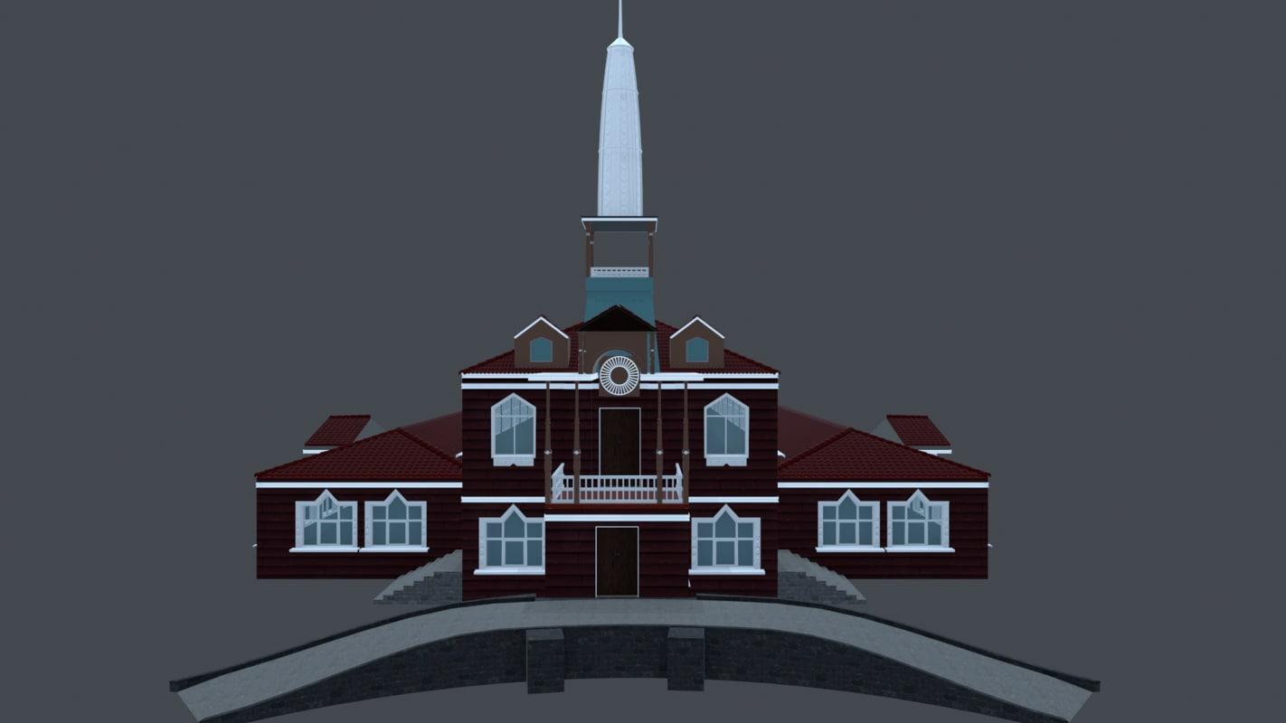 3D house-museum teremok model