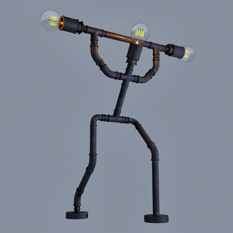 3D pipe lamp barbell curl model