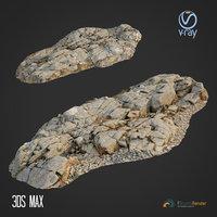 3D model scanned rock cliff e