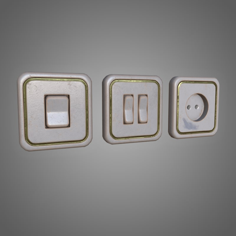 light switches power outlet 3D model
