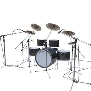 drums drumset music 3D model