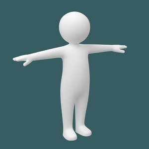 toddler stickman body character 3D