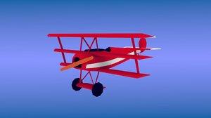 plane triplane focker 3D model