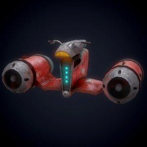 3D retro futuristic flying