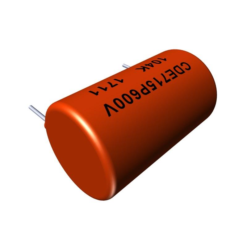 3D model capacitor 1 orange drop