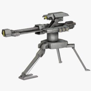 ready sci-fi turret 3D model