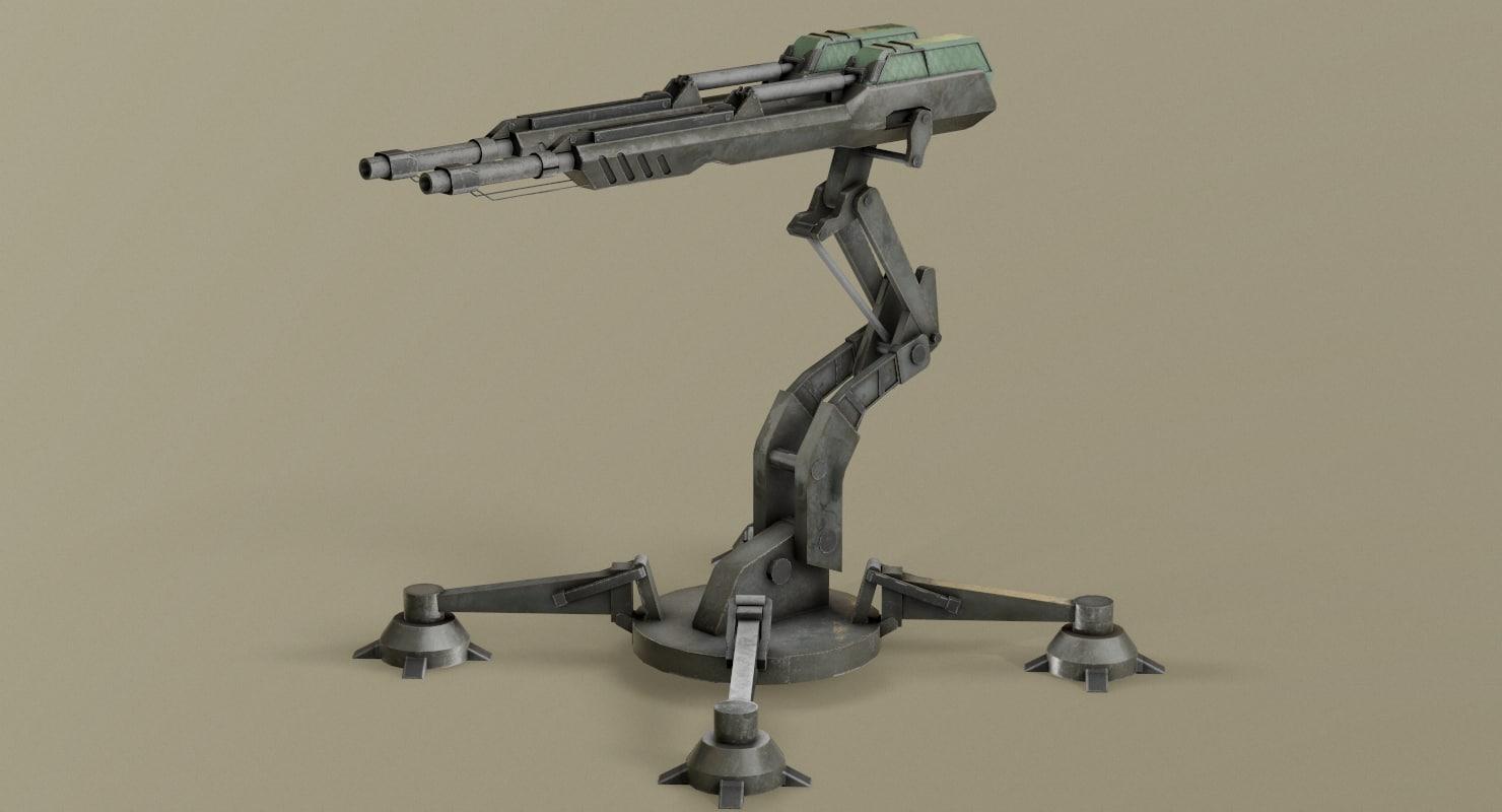ready sci-fi turret model