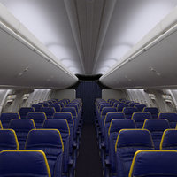 RyanAir Economy Airplane Interior Section with Seats