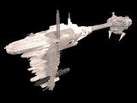 3D scifi frigate predator star wars model
