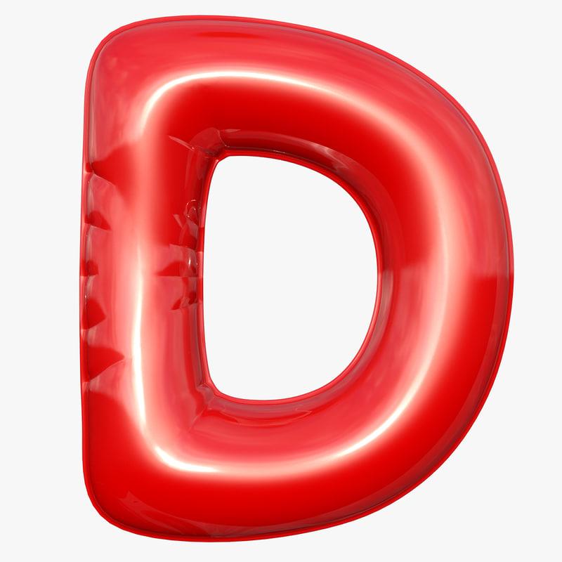 3D foil balloon letter d