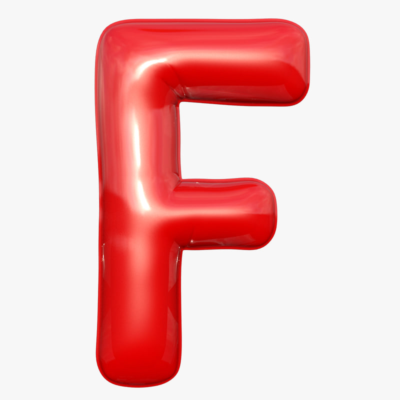 3D foil balloon letter f model